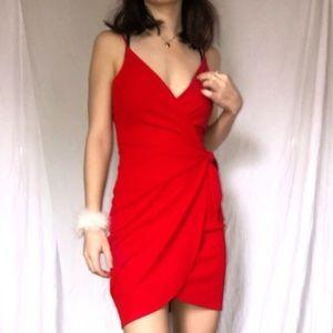 NWOT Lulu's red wrap dress XS